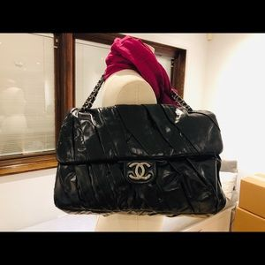 Chanel XL Maxi Flap Bag Pleated Leather